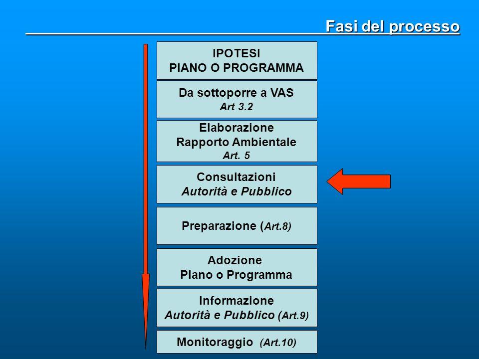 Fasi del processo Fasi del processo Da sottoporre a VAS Art 3.2 Elaborazione Rapporto Ambientale Art. 5 Consultazioni Autorità e Pubblico IPOTESI PIAN