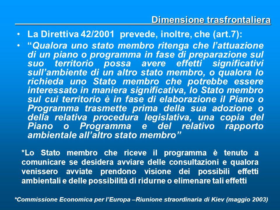 La Direttiva 42/2001 prevede, inoltre, che (art.7): Qualora uno stato membro ritenga che lattuazione di un piano o programma in fase di preparazione s