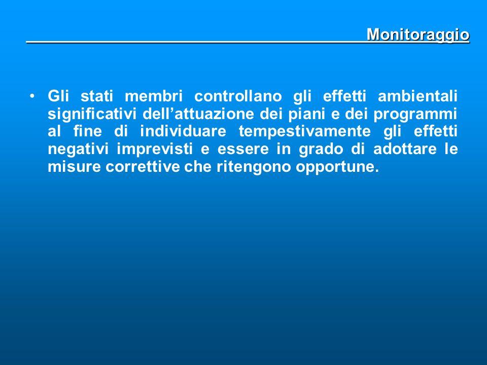 Monitoraggio Monitoraggio Gli stati membri controllano gli effetti ambientali significativi dellattuazione dei piani e dei programmi al fine di indivi