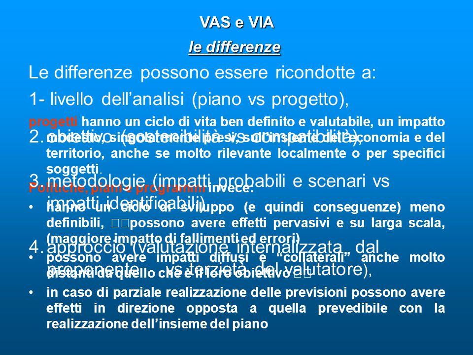 Le differenze possono essere ricondotte a: 1- livello dellanalisi (piano vs progetto), VAS e VIA VAS e VIA le differenze progetti hanno un ciclo di vi