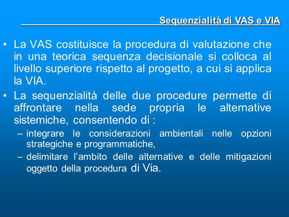 La VAS costituisce la procedura di valutazione che in una teorica sequenza decisionale si colloca al livello superiore rispetto al progetto, a cui si