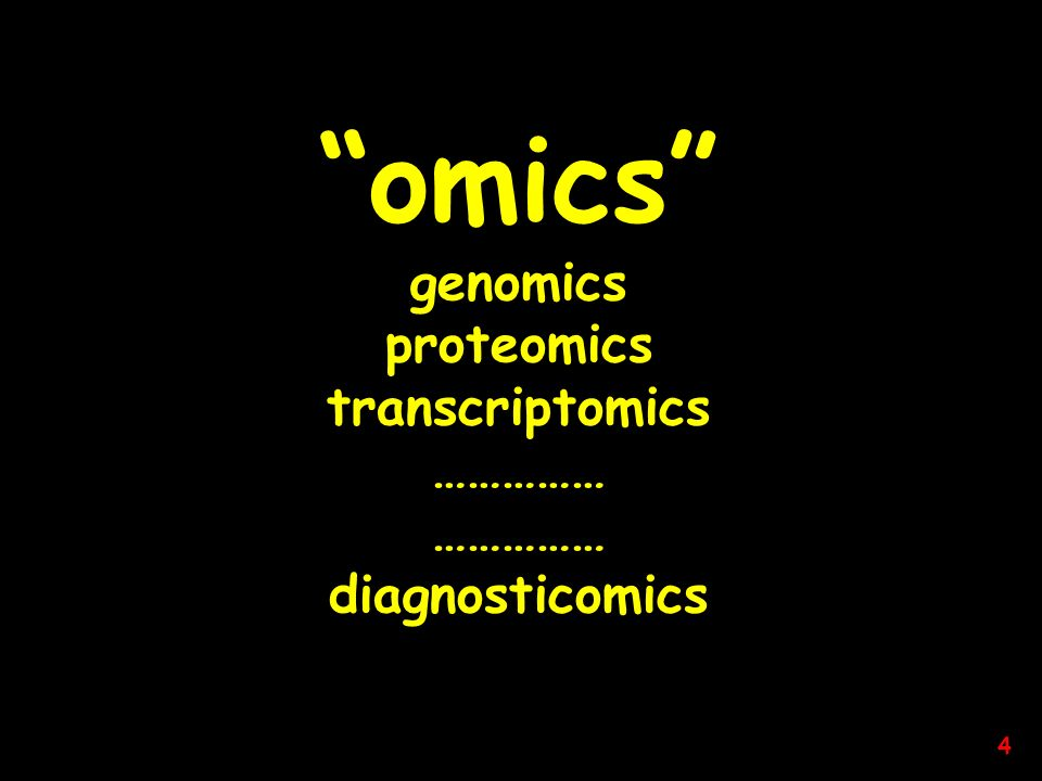 omics genomics proteomics transcriptomics …………… diagnosticomics 4