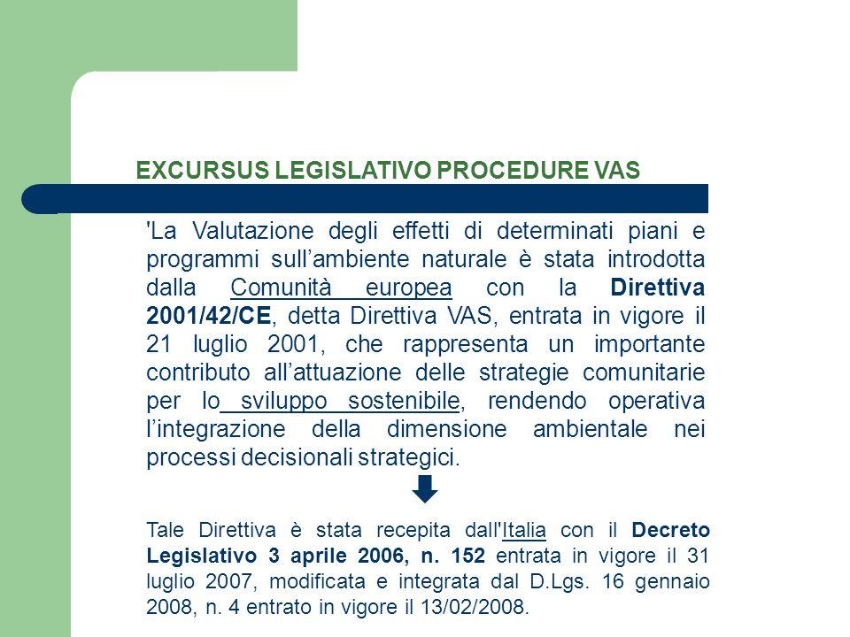 EXCURSUS LEGISLATIVO PROCEDURE VAS 'La Valutazione degli effetti di determinati piani e programmi sullambiente naturale è stata introdotta dalla Comun