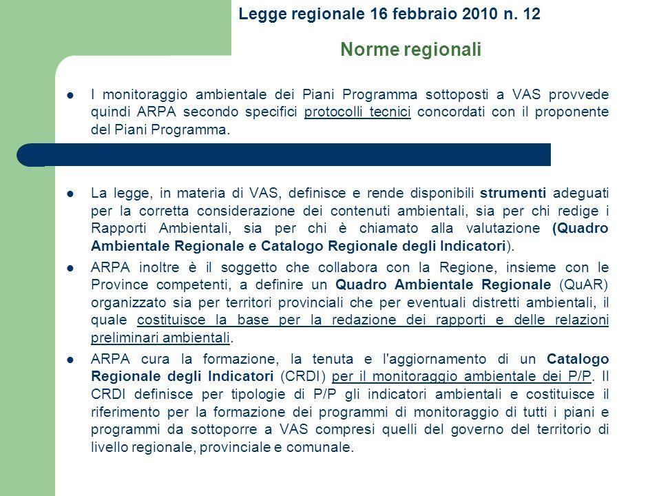 I monitoraggio ambientale dei Piani Programma sottoposti a VAS provvede quindi ARPA secondo specifici protocolli tecnici concordati con il proponente