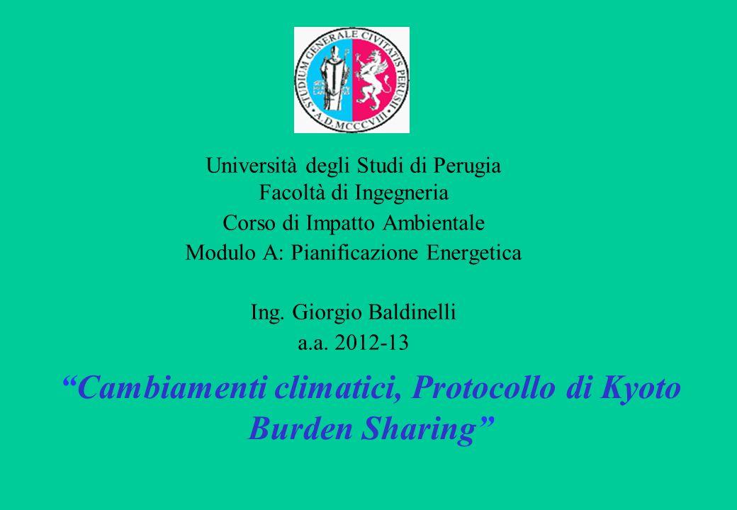 Università degli Studi di Perugia Facoltà di Ingegneria Corso di Impatto Ambientale Modulo A: Pianificazione Energetica Ing.