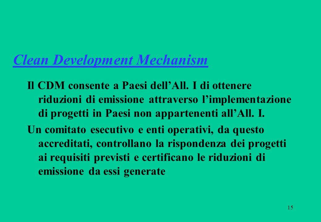 15 Clean Development Mechanism Il CDM consente a Paesi dellAll. I di ottenere riduzioni di emissione attraverso limplementazione di progetti in Paesi