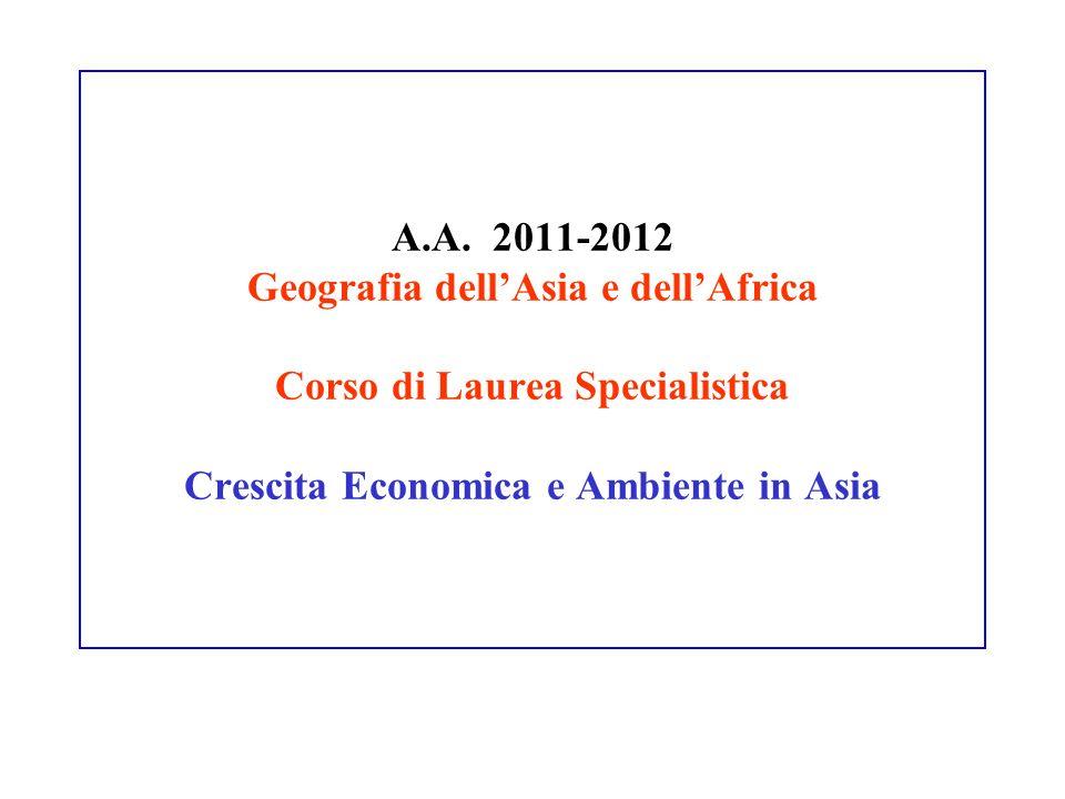 A.A. 2011-2012 Geografia dellAsia e dellAfrica Corso di Laurea Specialistica Crescita Economica e Ambiente in Asia