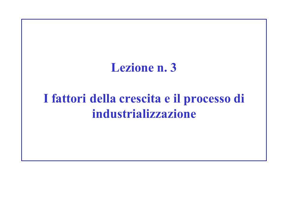 Lezione n. 3 I fattori della crescita e il processo di industrializzazione