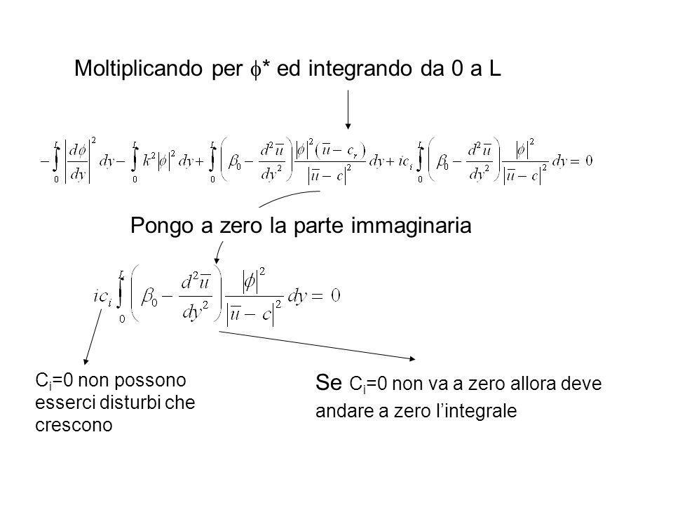 Moltiplicando per * ed integrando da 0 a L Pongo a zero la parte immaginaria C i =0 non possono esserci disturbi che crescono Se C i =0 non va a zero