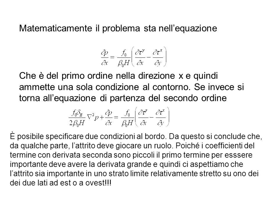 Matematicamente il problema sta nellequazione Che è del primo ordine nella direzione x e quindi ammette una sola condizione al contorno. Se invece si