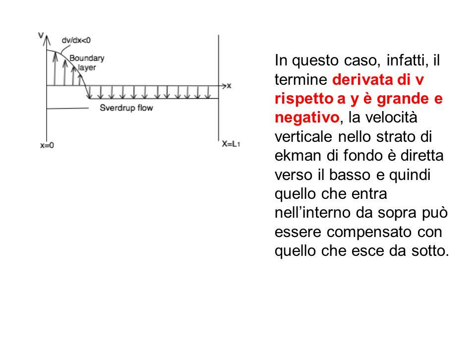 In questo caso, infatti, il termine derivata di v rispetto a y è grande e negativo, la velocità verticale nello strato di ekman di fondo è diretta ver