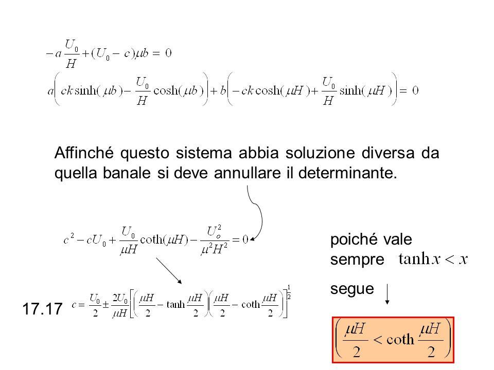 Affinché questo sistema abbia soluzione diversa da quella banale si deve annullare il determinante. poiché vale sempre segue 17.17