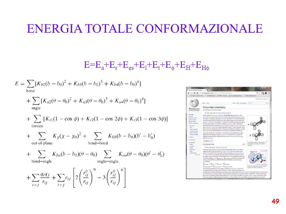 ENERGIA TOTALE CONFORMAZIONALE E=E a +E r +E es +E l +E t +E +E H +E H 49