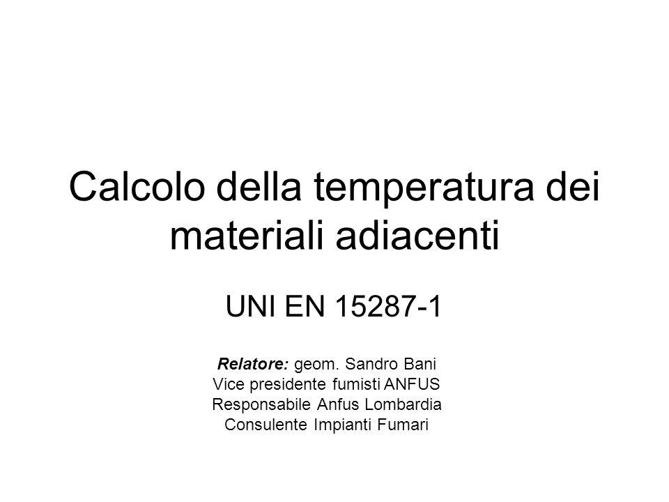 Calcolo della temperatura dei materiali adiacenti UNI EN 15287-1 Relatore: geom. Sandro Bani Vice presidente fumisti ANFUS Responsabile Anfus Lombardi