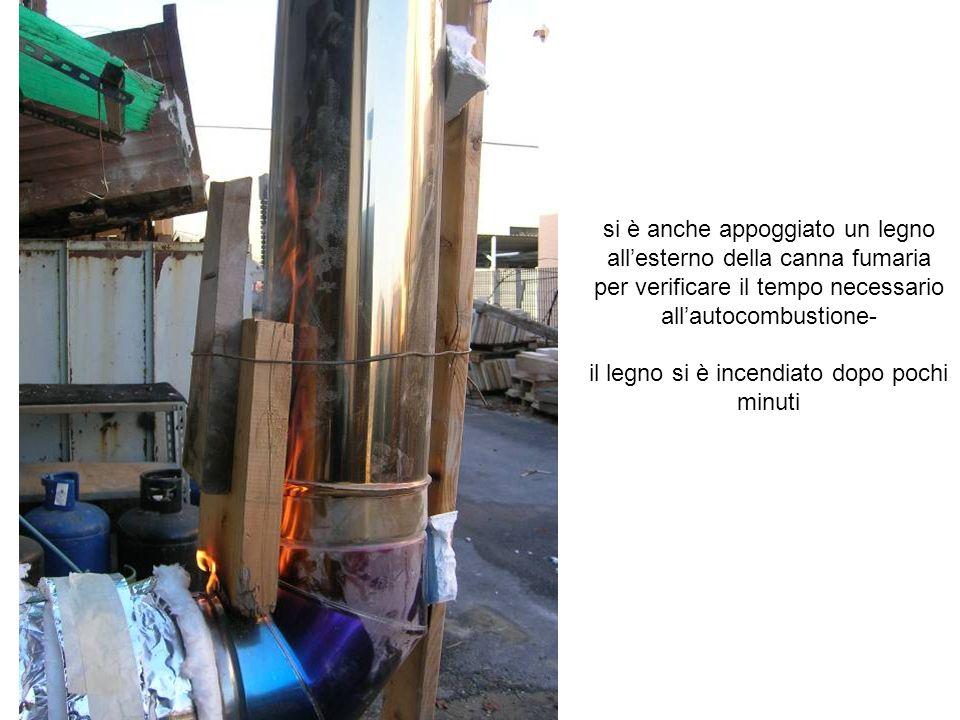 si è anche appoggiato un legno allesterno della canna fumaria per verificare il tempo necessario allautocombustione- il legno si è incendiato dopo poc