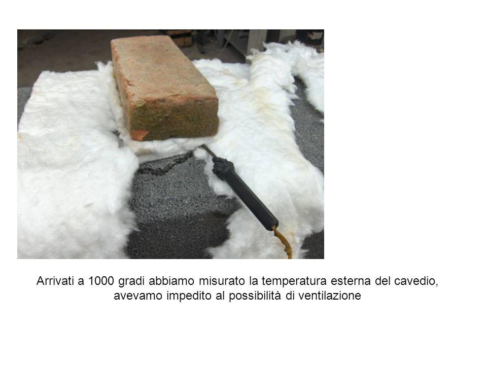 Arrivati a 1000 gradi abbiamo misurato la temperatura esterna del cavedio, avevamo impedito al possibilità di ventilazione