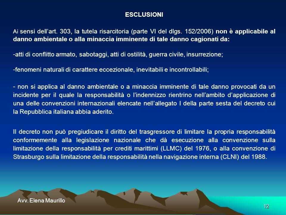 12 Avv. Elena Maurillo ESCLUSIONI Ai sensi dellart. 303, la tutela risarcitoria (parte VI del dlgs. 152/2006) non è applicabile al danno ambientale o