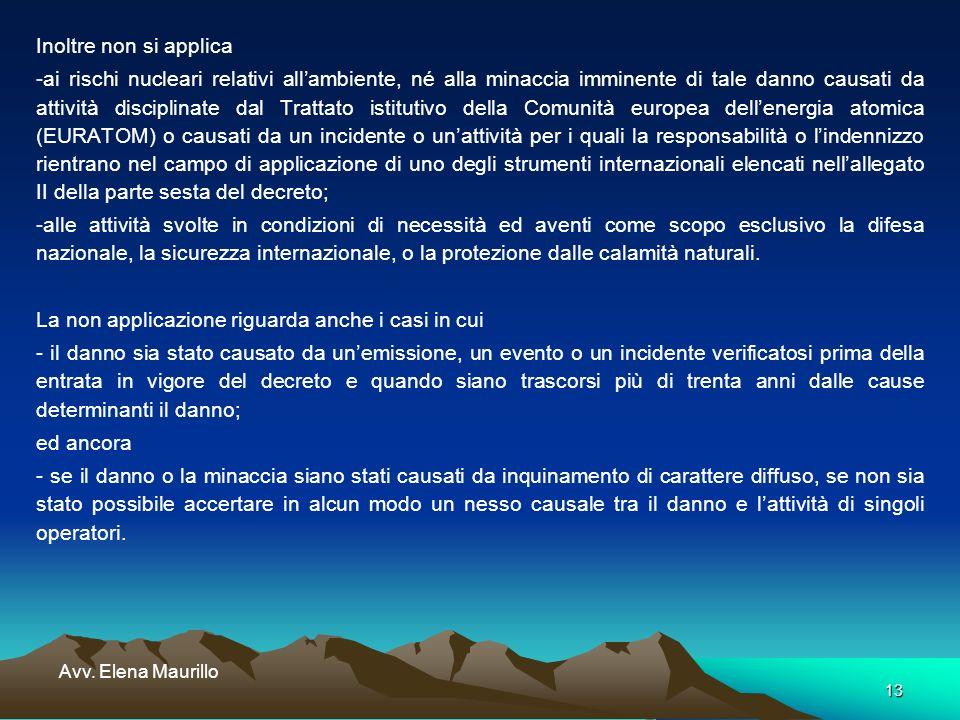 13 Avv. Elena Maurillo Inoltre non si applica -ai rischi nucleari relativi allambiente, né alla minaccia imminente di tale danno causati da attività d