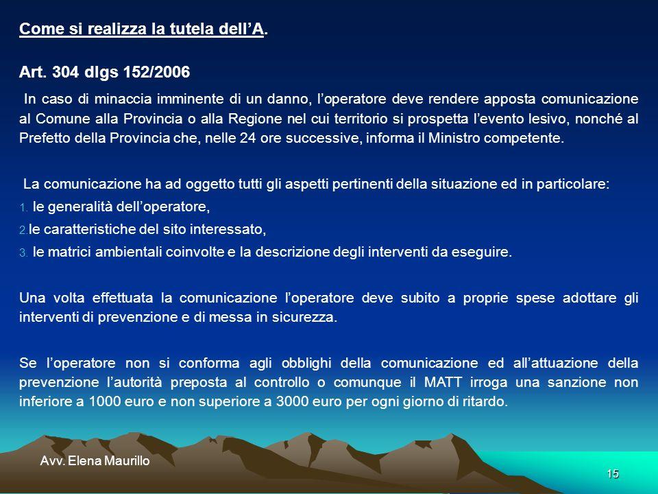 15 Avv. Elena Maurillo Come si realizza la tutela dellA. Art. 304 dlgs 152/2006 In caso di minaccia imminente di un danno, loperatore deve rendere app