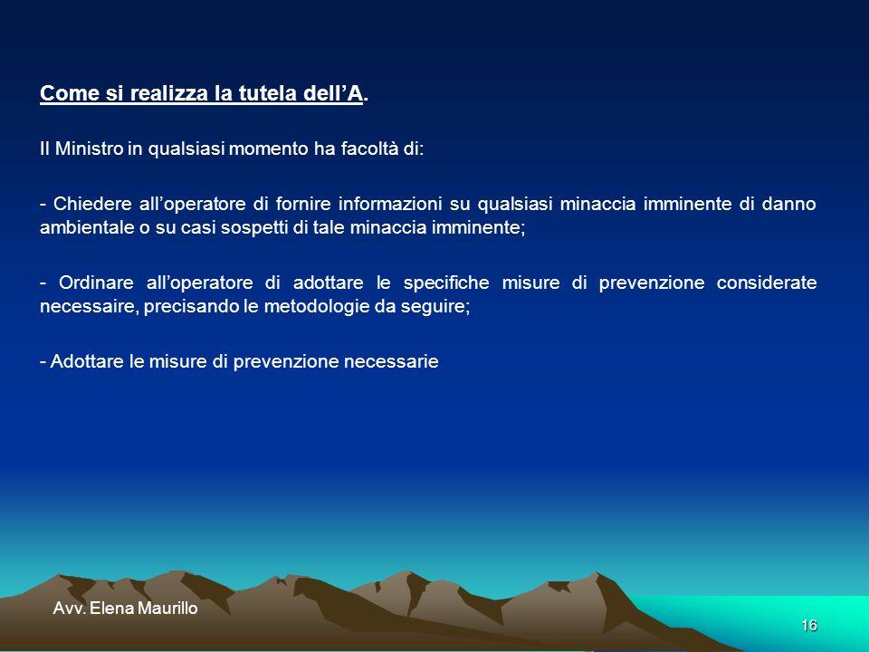 16 Avv. Elena Maurillo Come si realizza la tutela dellA. Il Ministro in qualsiasi momento ha facoltà di: - Chiedere alloperatore di fornire informazio