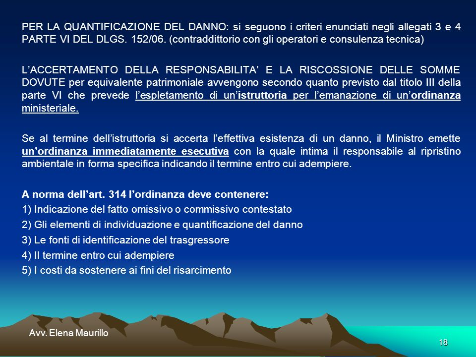18 Avv. Elena Maurillo PER LA QUANTIFICAZIONE DEL DANNO: si seguono i criteri enunciati negli allegati 3 e 4 PARTE VI DEL DLGS. 152/06. (contraddittor
