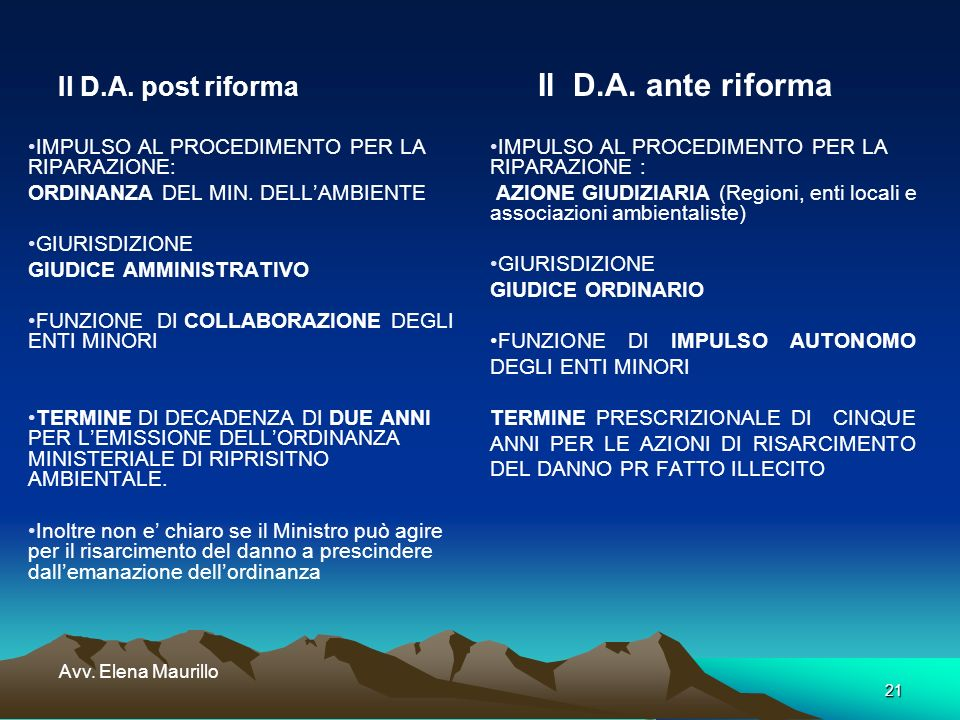 21 Avv. Elena Maurillo Il D.A. post riforma Il D.A. ante riforma IMPULSO AL PROCEDIMENTO PER LA RIPARAZIONE: ORDINANZA DEL MIN. DELLAMBIENTE GIURISDIZ