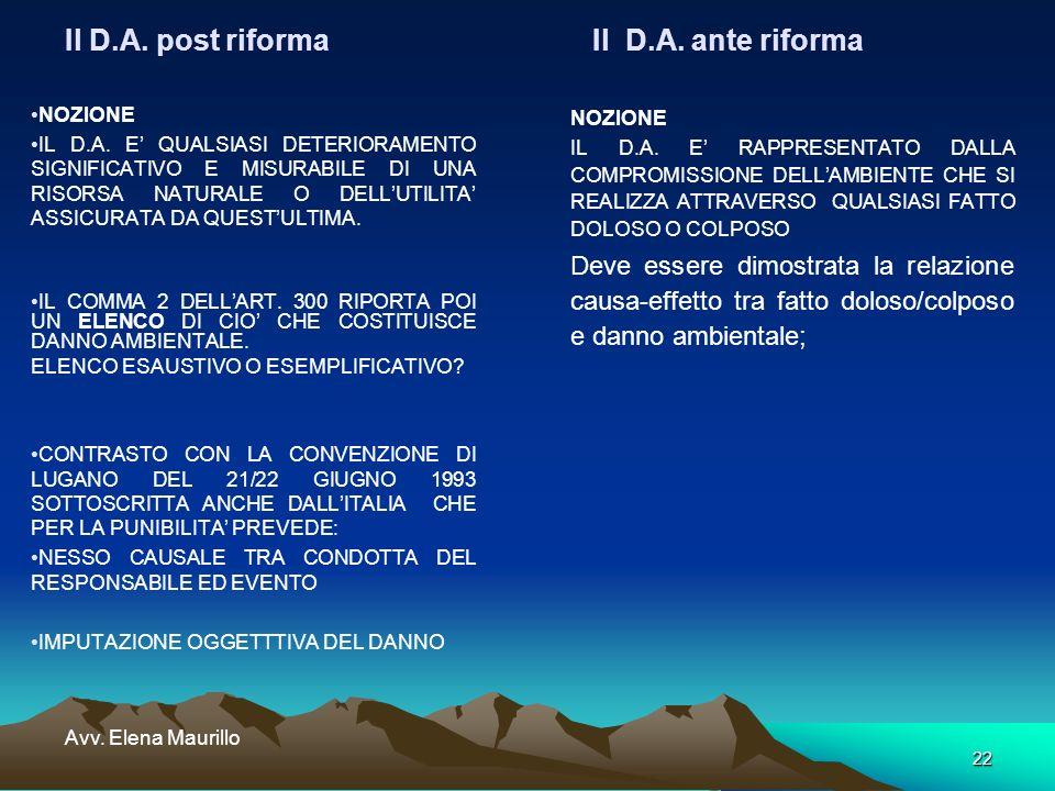 22 Avv. Elena Maurillo Il D.A. post riforma Il D.A. ante riforma NOZIONE IL D.A. E QUALSIASI DETERIORAMENTO SIGNIFICATIVO E MISURABILE DI UNA RISORSA