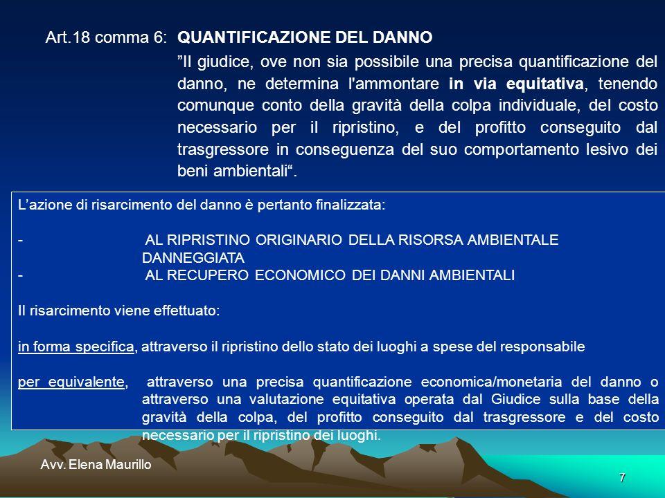 7 Avv. Elena Maurillo Art.18 comma 6:QUANTIFICAZIONE DEL DANNO Il giudice, ove non sia possibile una precisa quantificazione del danno, ne determina l