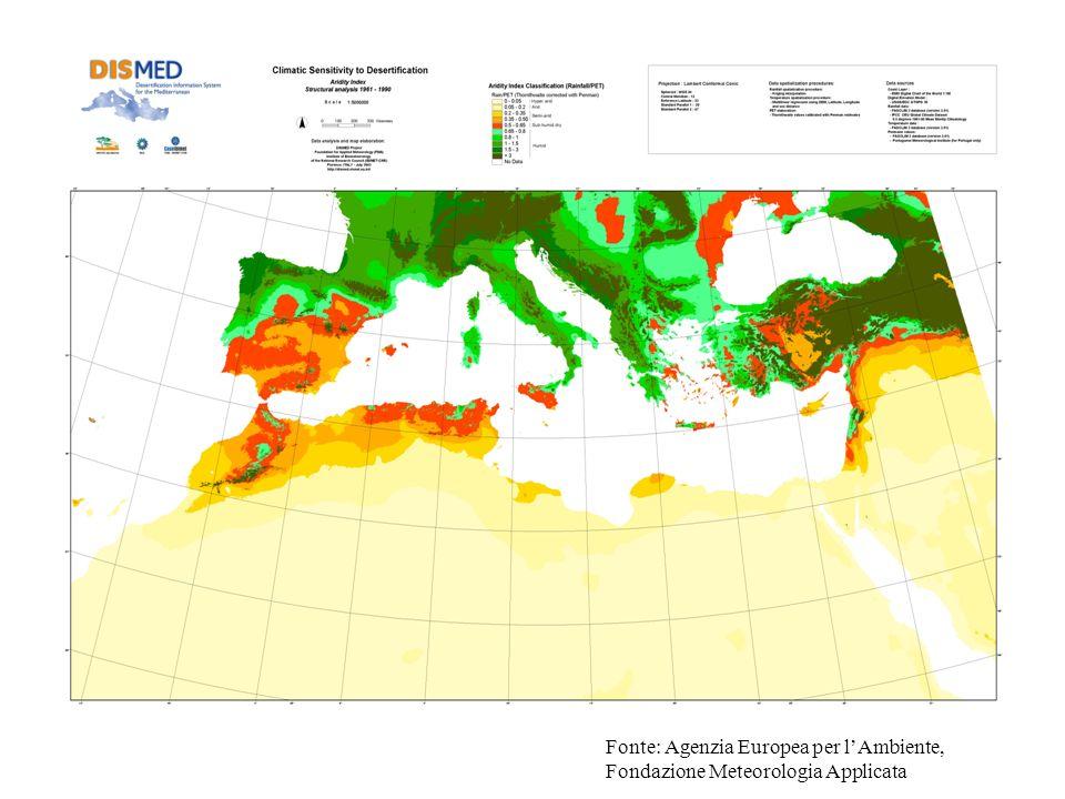 Fonte: Agenzia Europea per lAmbiente, Fondazione Meteorologia Applicata