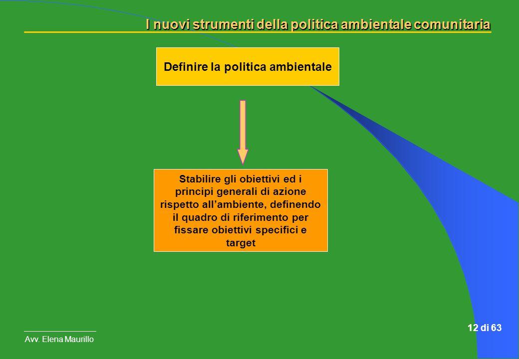I nuovi strumenti della politica ambientale comunitaria Avv. Elena Maurillo 12 di 63 Definire la politica ambientale Stabilire gli obiettivi ed i prin