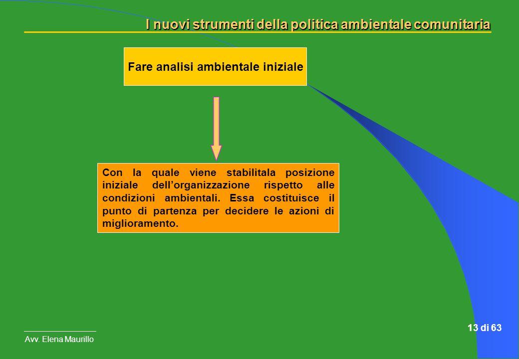 I nuovi strumenti della politica ambientale comunitaria Avv. Elena Maurillo 13 di 63 Fare analisi ambientale iniziale Con la quale viene stabilitala p