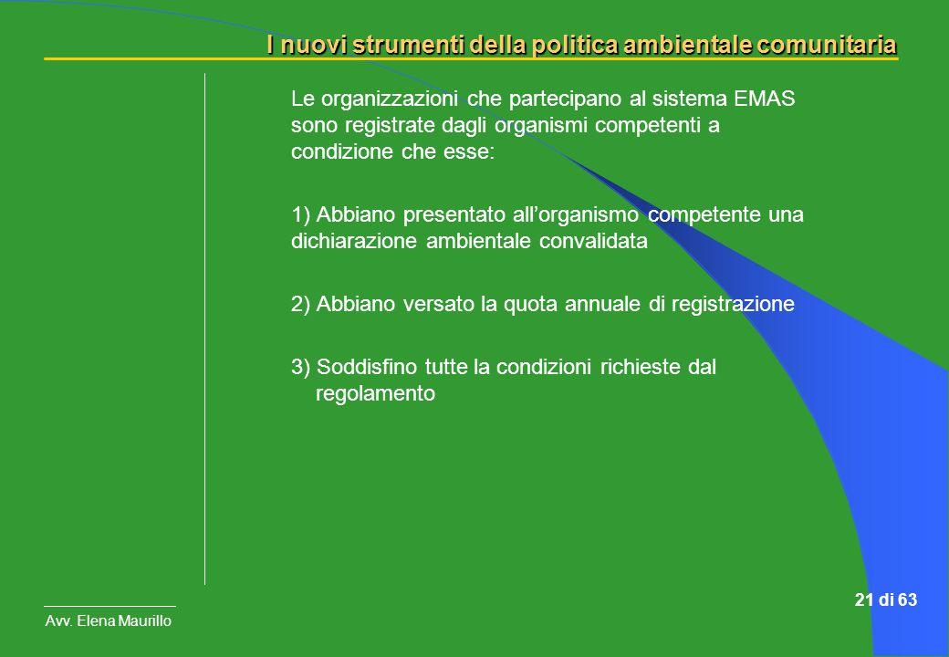 I nuovi strumenti della politica ambientale comunitaria Avv. Elena Maurillo 21 di 63 Le organizzazioni che partecipano al sistema EMAS sono registrate