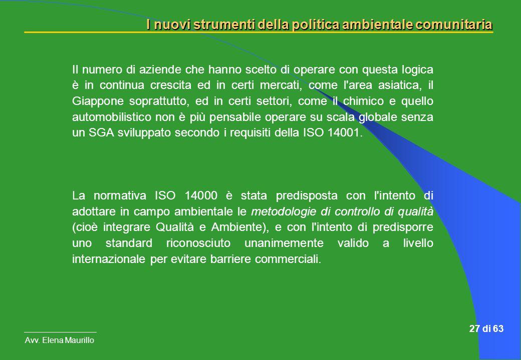 I nuovi strumenti della politica ambientale comunitaria Avv. Elena Maurillo 27 di 63 Il numero di aziende che hanno scelto di operare con questa logic
