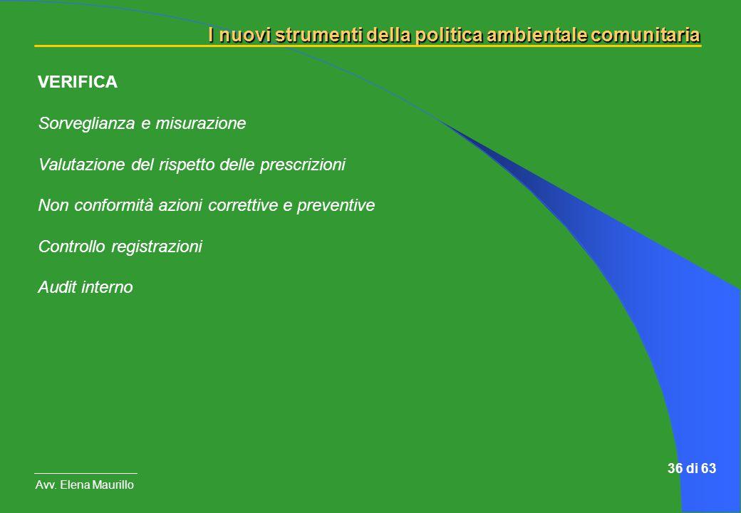 I nuovi strumenti della politica ambientale comunitaria Avv. Elena Maurillo 36 di 63 VERIFICA Sorveglianza e misurazione Valutazione del rispetto dell