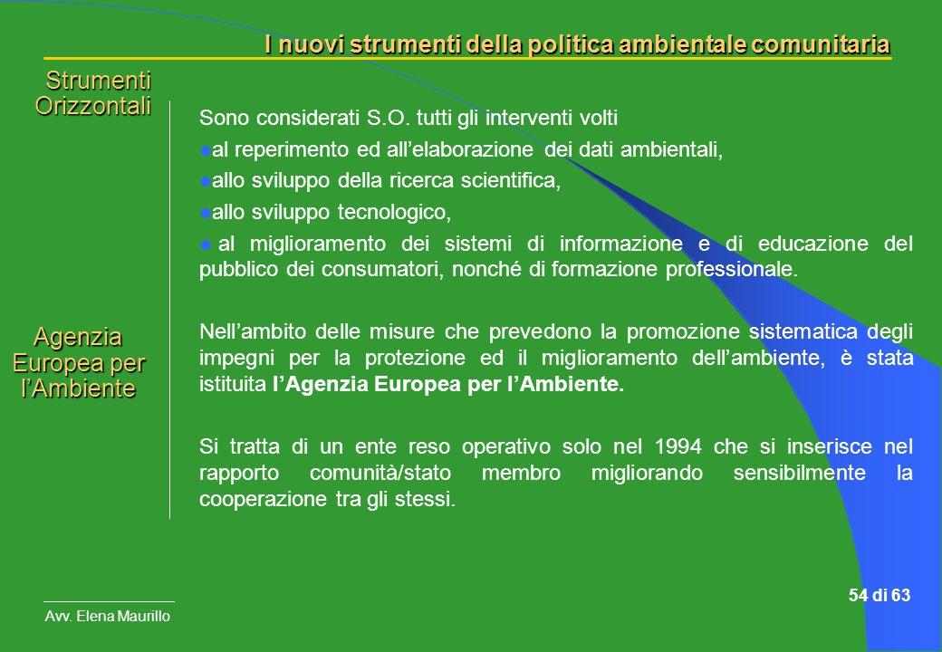 I nuovi strumenti della politica ambientale comunitaria Avv. Elena Maurillo 54 di 63 Sono considerati S.O. tutti gli interventi volti al reperimento e