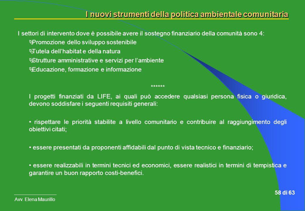 I nuovi strumenti della politica ambientale comunitaria Avv. Elena Maurillo 58 di 63 I settori di intervento dove è possibile avere il sostegno finanz