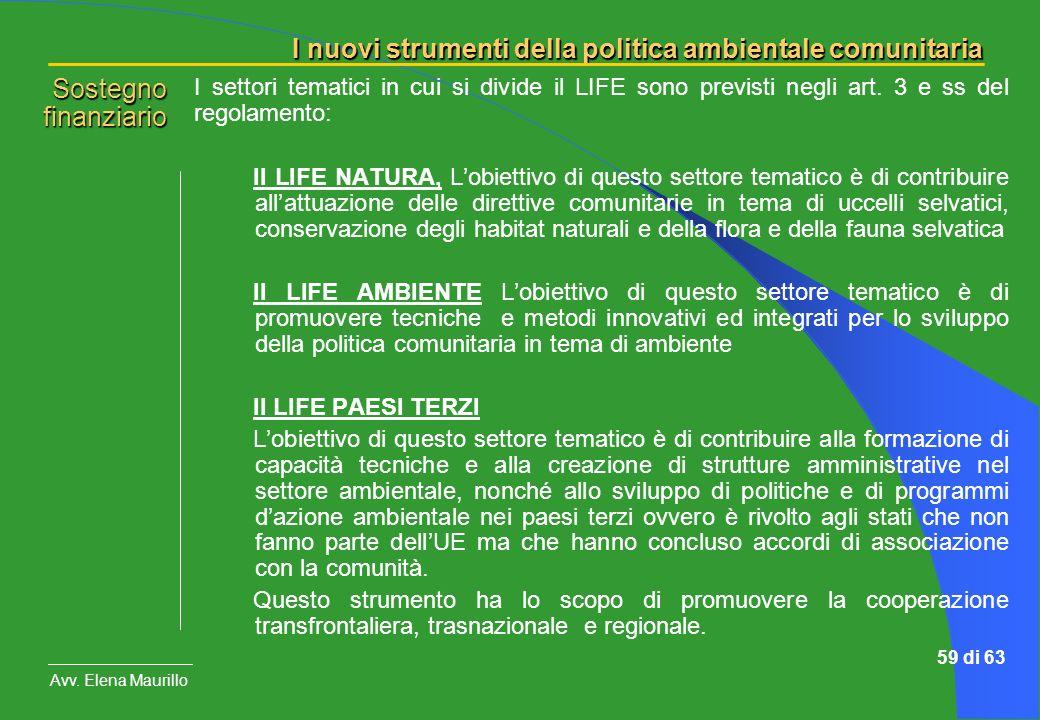 I nuovi strumenti della politica ambientale comunitaria Avv. Elena Maurillo 59 di 63 I settori tematici in cui si divide il LIFE sono previsti negli a