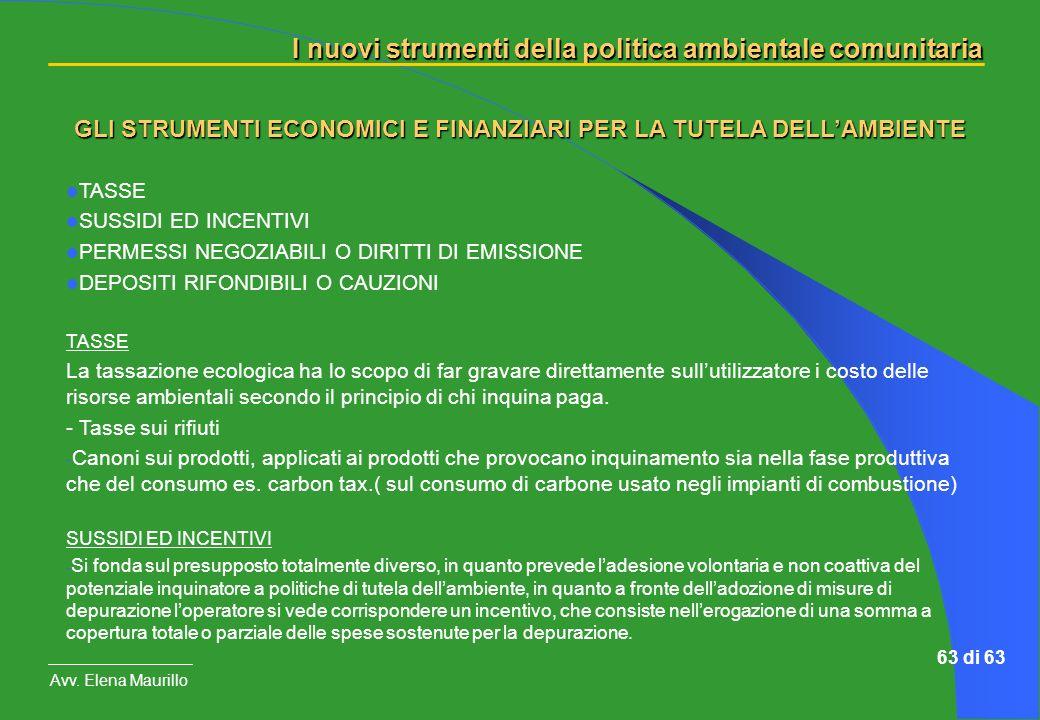 I nuovi strumenti della politica ambientale comunitaria Avv. Elena Maurillo 63 di 63 TASSE SUSSIDI ED INCENTIVI PERMESSI NEGOZIABILI O DIRITTI DI EMIS