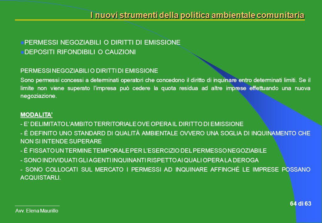I nuovi strumenti della politica ambientale comunitaria Avv. Elena Maurillo 64 di 63 PERMESSI NEGOZIABILI O DIRITTI DI EMISSIONE DEPOSITI RIFONDIBILI