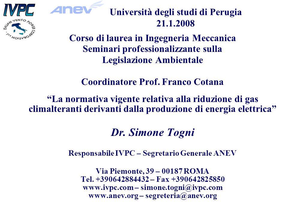 Corso di laurea in Ingegneria Meccanica Seminari professionalizzante sulla Legislazione Ambientale Coordinatore Prof.