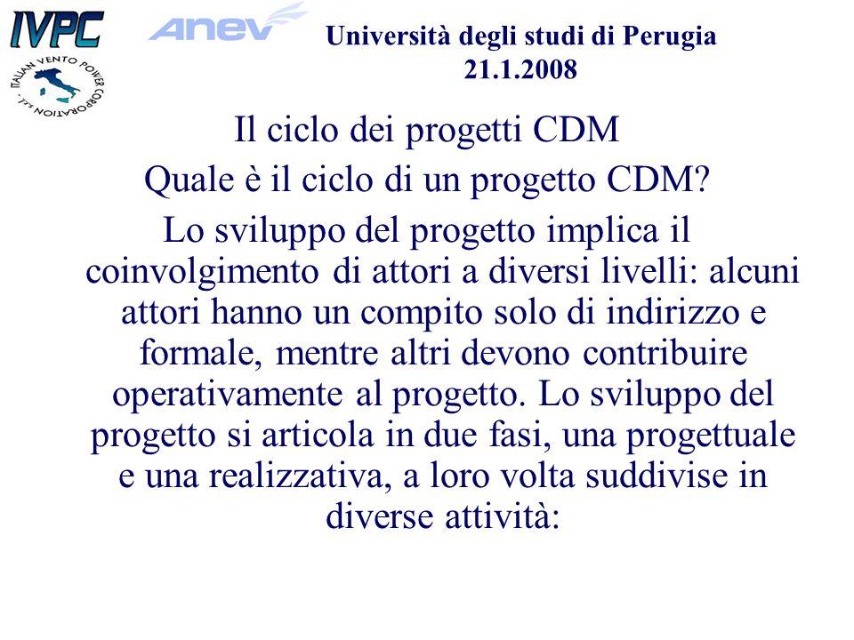 Università degli studi di Perugia 21.1.2008 Il ciclo dei progetti CDM Quale è il ciclo di un progetto CDM.