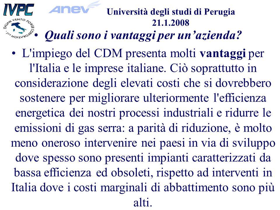 Università degli studi di Perugia 21.1.2008 Quali sono i vantaggi per unazienda.