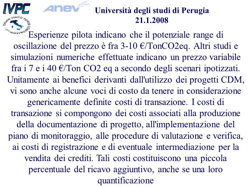 Università degli studi di Perugia 21.1.2008 Esperienze pilota indicano che il potenziale range di oscillazione del prezzo è fra 3-10 /TonCO2eq.
