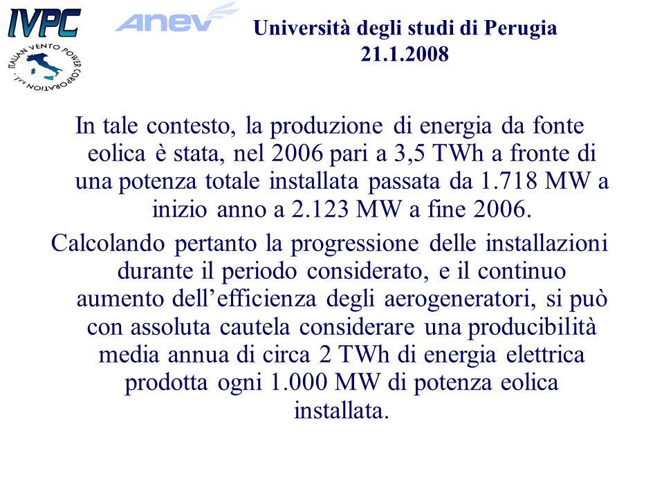 Università degli studi di Perugia 21.1.2008 In tale contesto, la produzione di energia da fonte eolica è stata, nel 2006 pari a 3,5 TWh a fronte di una potenza totale installata passata da 1.718 MW a inizio anno a 2.123 MW a fine 2006.