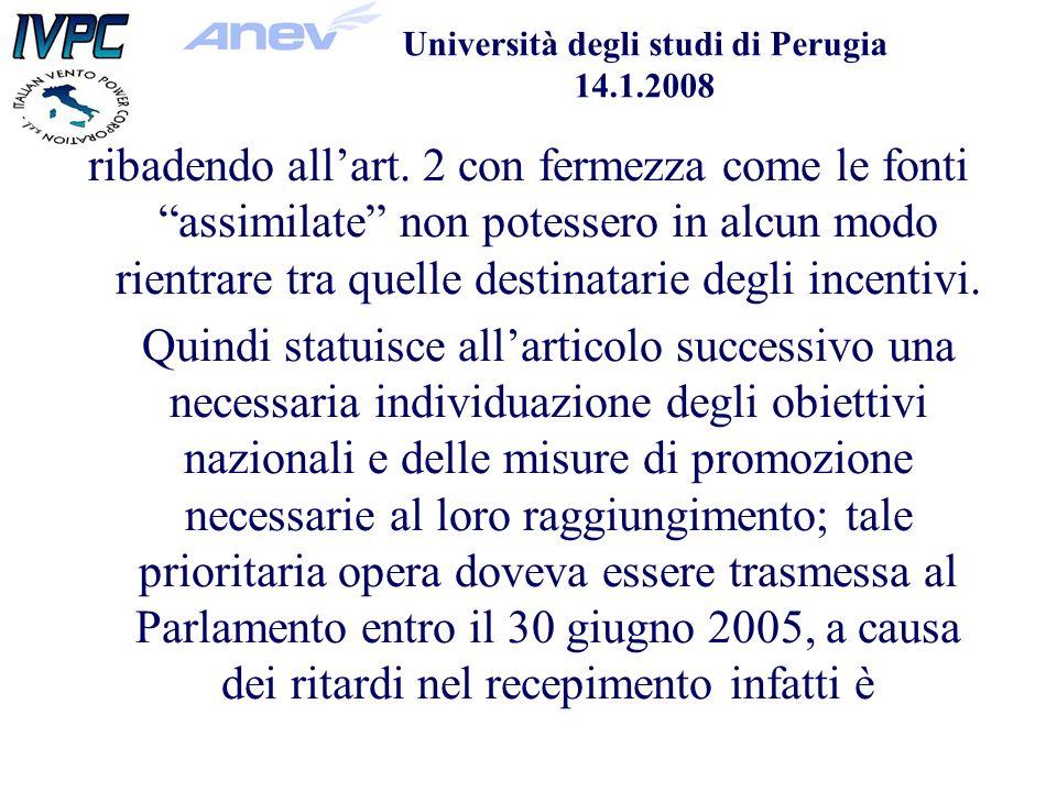 Università degli studi di Perugia 14.1.2008 ribadendo allart.