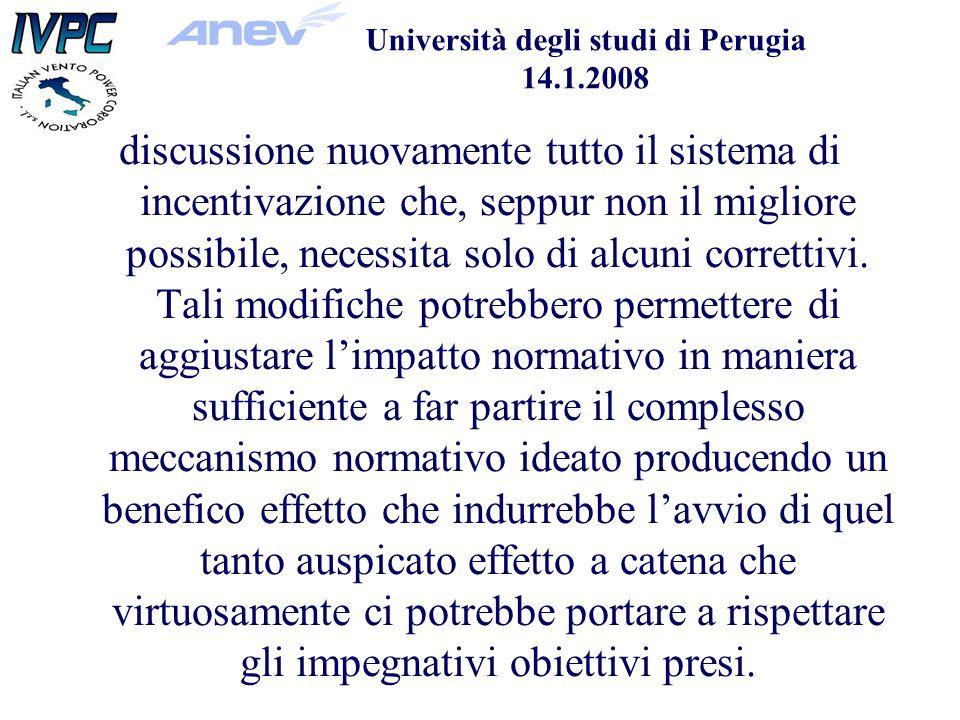 Università degli studi di Perugia 14.1.2008 discussione nuovamente tutto il sistema di incentivazione che, seppur non il migliore possibile, necessita solo di alcuni correttivi.