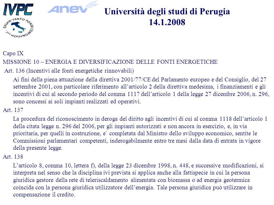 Capo IX MISSIONE 10 – ENERGIA E DIVERSIFICAZIONE DELLE FONTI ENERGETICHE Art.
