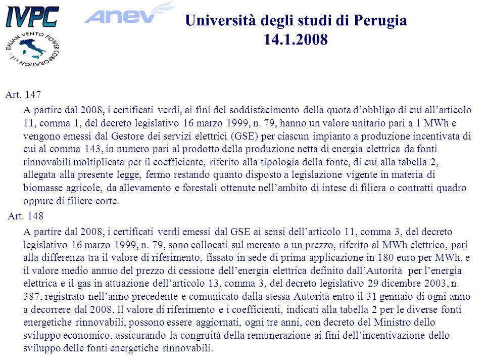 Università degli studi di Perugia 14.1.2008 Art.