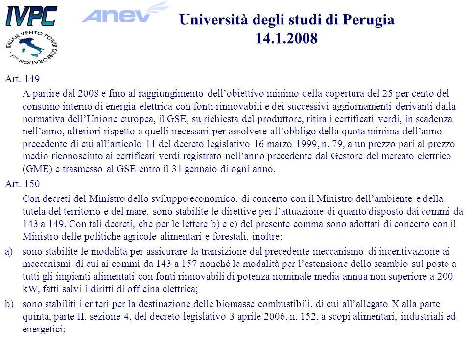 Art. 149 A partire dal 2008 e fino al raggiungimento dellobiettivo minimo della copertura del 25 per cento del consumo interno di energia elettrica co