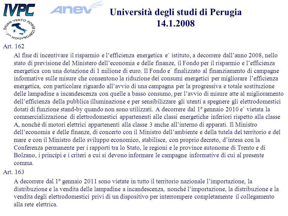 Art. 162 Al fine di incentivare il risparmio e lefficienza energetica e` istituto, a decorrere dallanno 2008, nello stato di previsione del Ministero